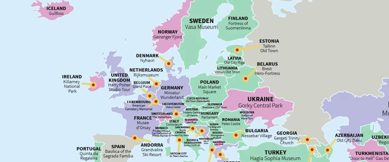 Deze wereldkaart laat reizigers het beste van ieder land zien - Tafel stockholm huis ter wereld ...