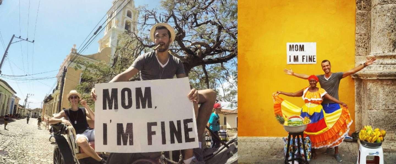 Wereldreiziger stelt moeder gerust via Instagram