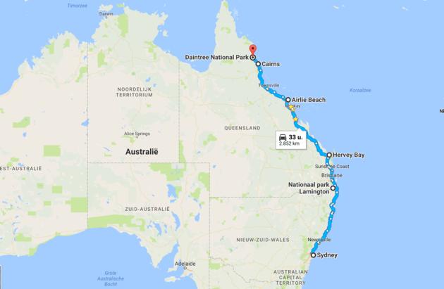 Australië-roadtrip-route