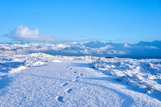 Sneeuw in ijsland Snaefellsnes