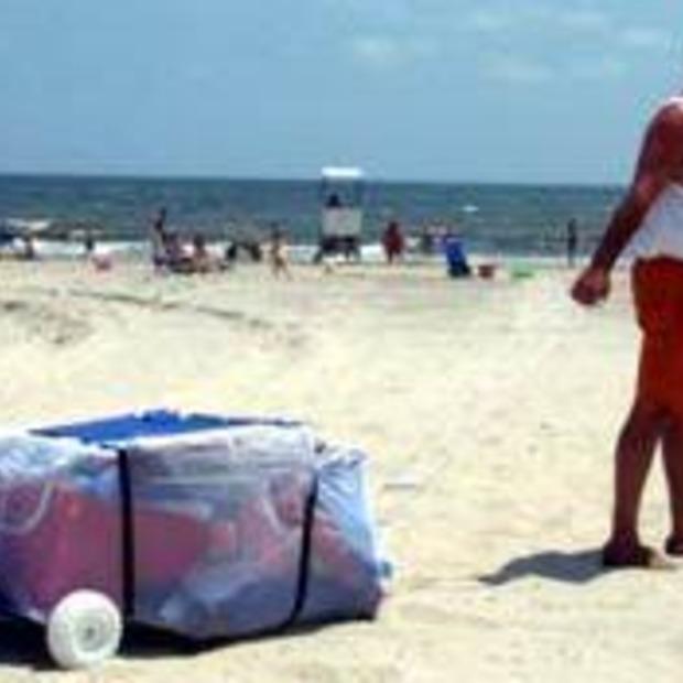 Handige slee voor op het strand