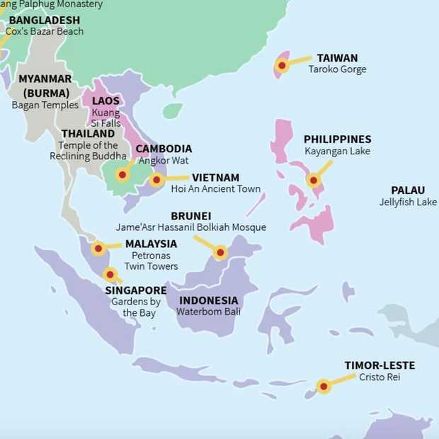 Deze wereldkaart laat reizigers het beste van ieder land zien