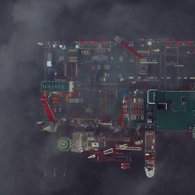 Drone video van het grootste schip ter wereld: Pioneering Spirit