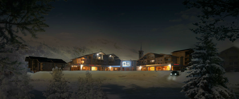 Tignes 1800, dorpskarakter in de sneeuw