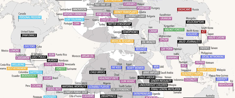 Deze wereldkaart laat zien waar elk land in uitblinkt