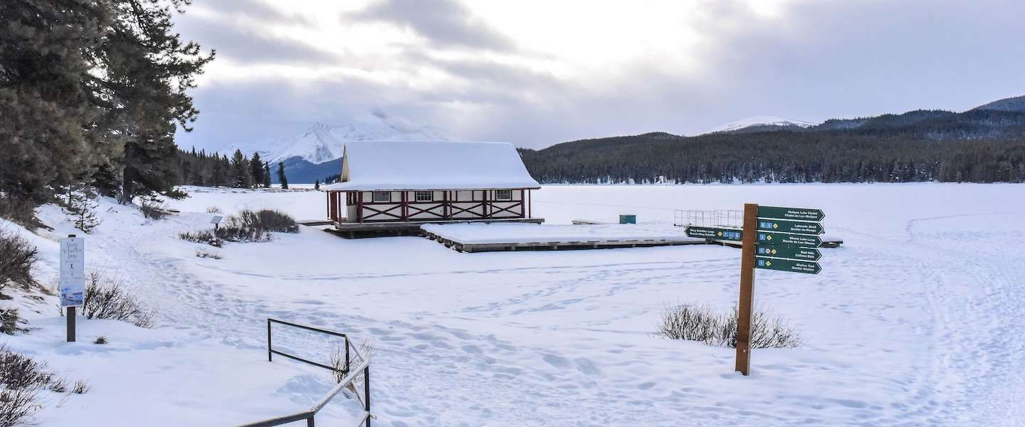 Magisch mooi: Maligne Lake in de winter