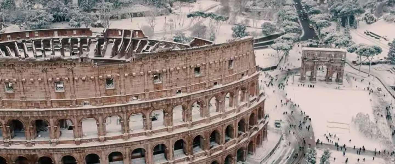 Unieke beelden; Rome en Venetië onder een dik pak sneeuw!