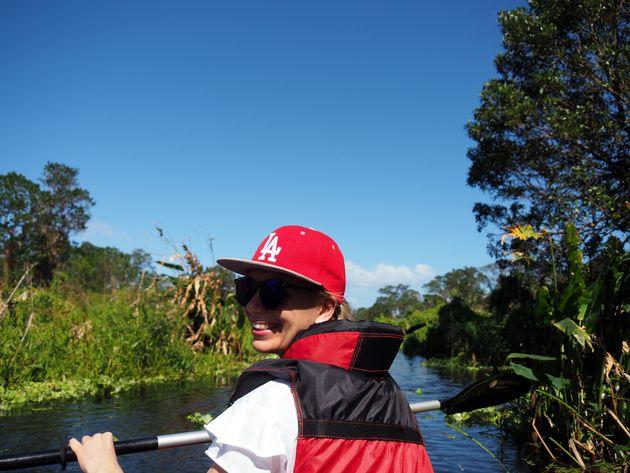 7. ga kanoën op de Rio Istian in Ometepe.