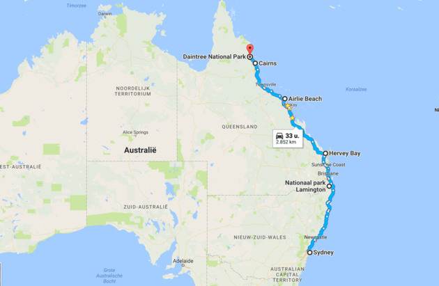 Australië-roadtrip-route