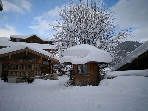 Besneeuwde berghutten in ski amadé.