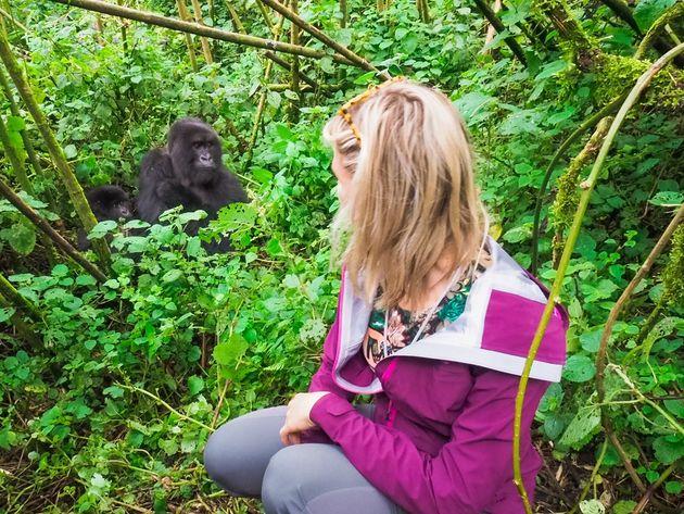 dichtbij gorilla moeder en baby