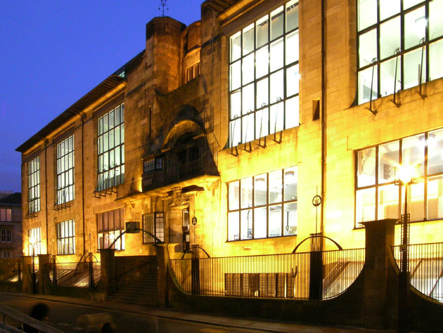 Glasgow School of Art bij nacht
