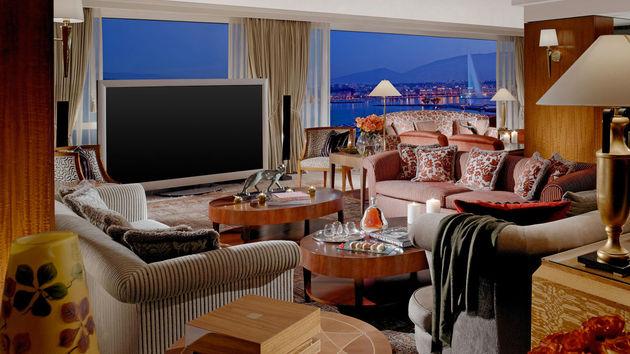 Het woongedeelte in de Royal Suite