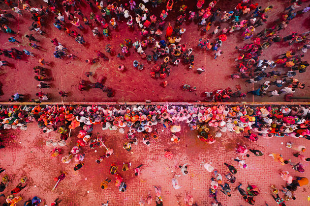 Holi Festival from the air by Matt Horspool