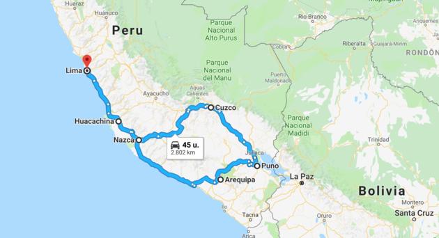 kaart-rondreis-peru
