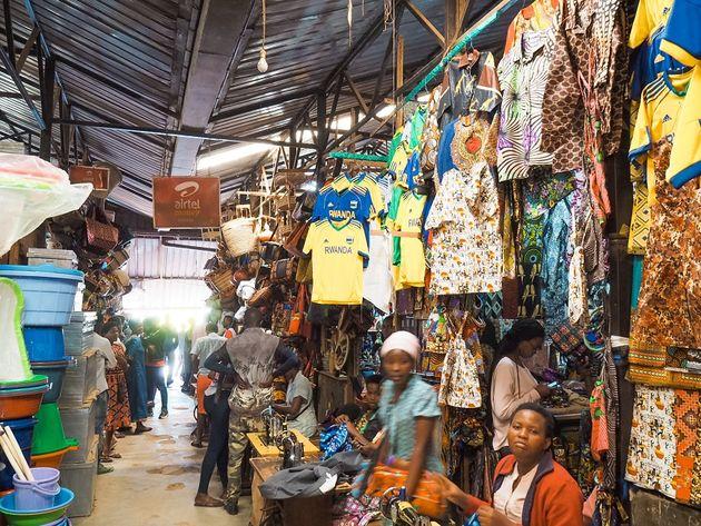 Kigali Kimironko kledingmarkt