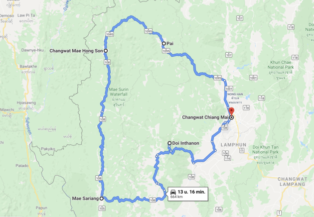 Mae Hong Son loop route