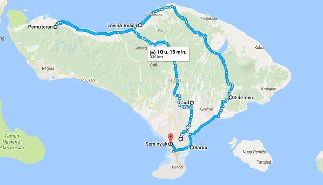 Rondreis-Bali-route