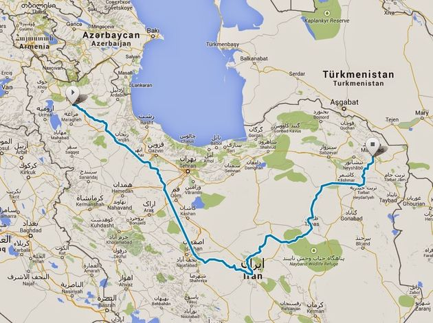 Route Iran fiets 2014