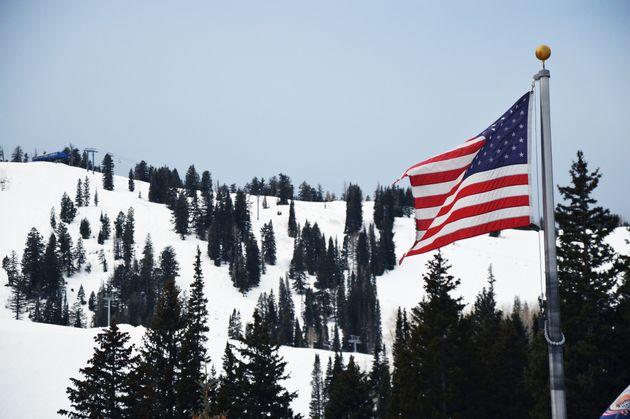 skiën-utah-amerikaanse-vlag.