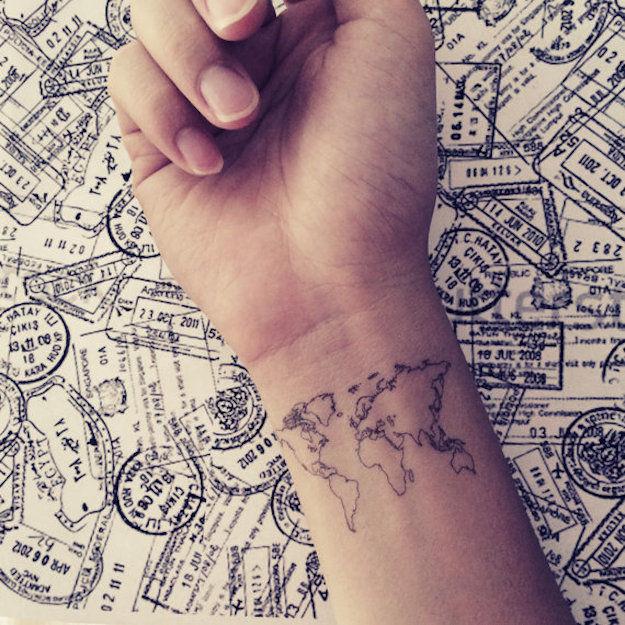 tijdelijke-tattoo-wereldkaart