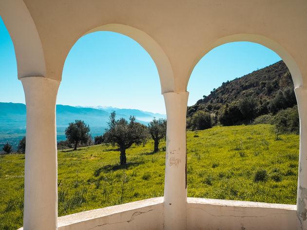 Uitzicht Voulkanou Klooster Taigetos