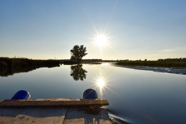 vlot-biesbosch-ondergaande-zon