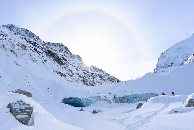 zinal-gletsjer-zon