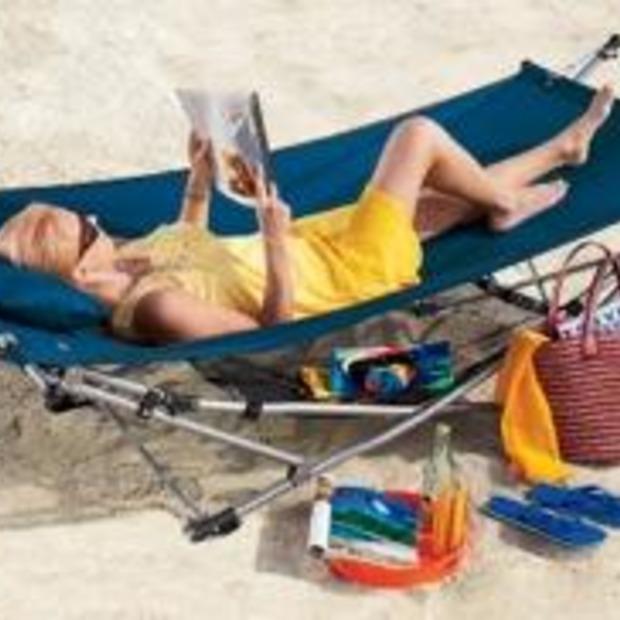 Relaxen in een opvouwbare hangmat