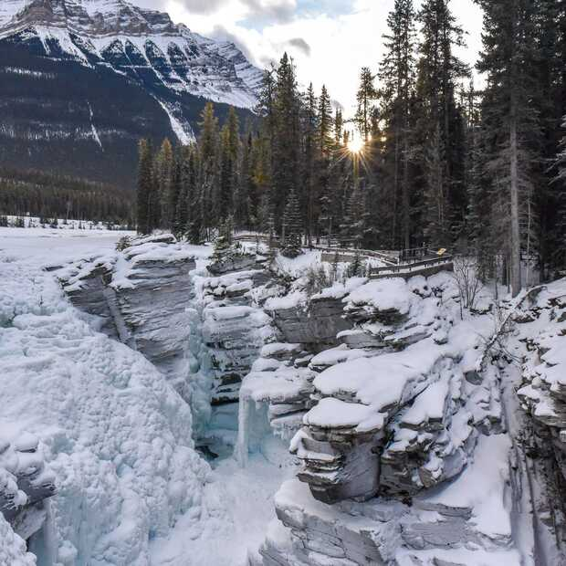 Athabasca Falls is de mooiste waterval in Jasper, Canada