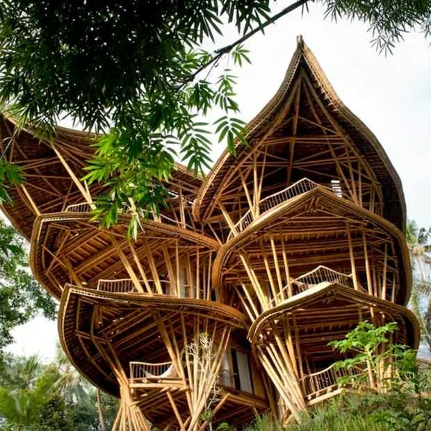 Coole Airbnb: een bamboepaleis in Bali voor tien personen!