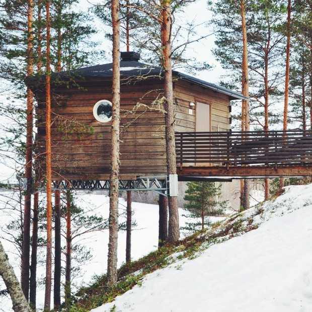 Slapen in een vogelhuisje in Zweden
