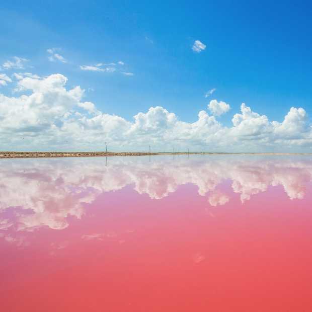 De Pink Lagoon in Mexico lijkt net een sprookje