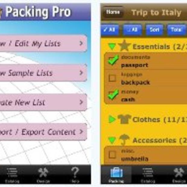 Hulp bij het pakken en plannen voor een trip