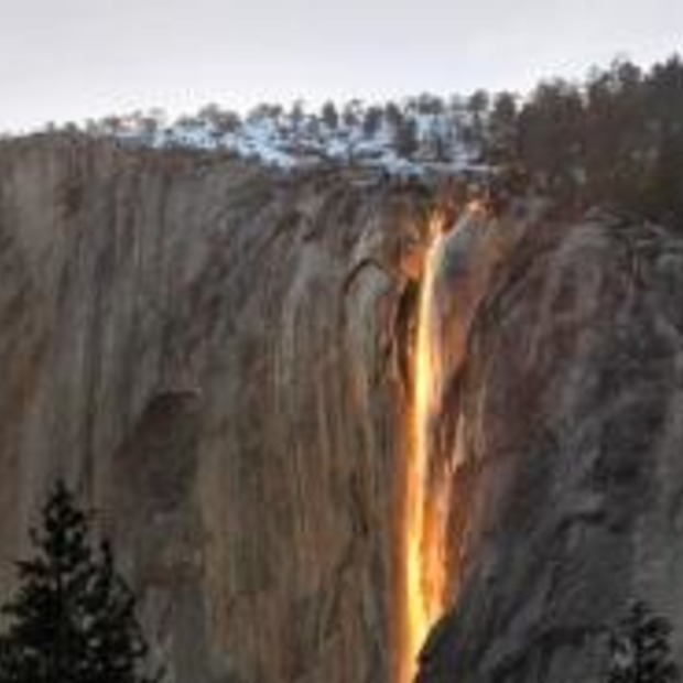 'Vuur' waterval; Horsetail Falls in Yosemite National Park